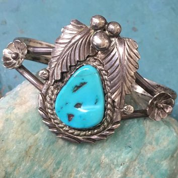 Pale Blue Turquoise Bracelet In Sterling Silver