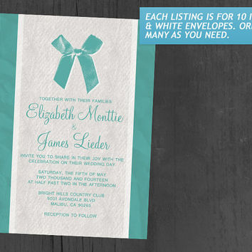 Aqua Vintage Bow & Linen Wedding Invitations | Invites | Invitation Cards