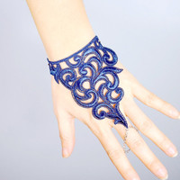 navy blue lace bracelet // chain ring vintage bracelet // gothic dark bracelet cuff // fabric jewelry gift
