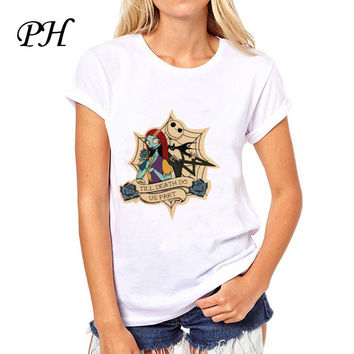 PH  Corpse Bride Pattern Printed T shirt Women New brand clothing Casual  Gothic Nightmare Before christmas women tee tops