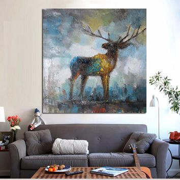 Watercolor Artistic Deer Elk Abstract Painting on Canvas Animal Pop Art Modern Cuadros Decor Wall Picture For Living Room