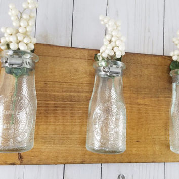 Reclaimed Wood Wall Decor - Dairy Bottle Flower Wall Vase - Bathroom Wall Decor - Kitchen Wall Decorations - Wall Sconce -Farmhouse Decor