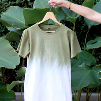 Handmade tie dye ombre Olive green t-shirt Unisex