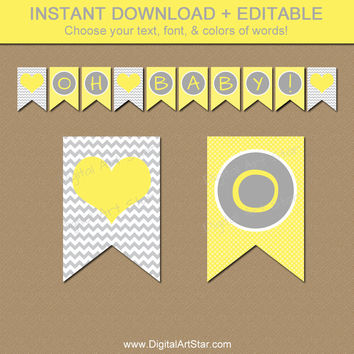 Baby Shower Banner - Yellow and Grey Chevron Banner - EDITABLE Oh Baby Banner - Gender Neutral Baby Shower Decorations - Photo Prop Download