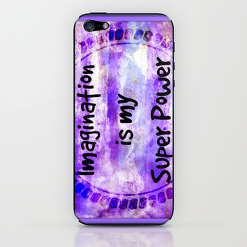 IMAGINATION IS MY SUPER POWER Inspirational Fine Art Painting Typography Lavender Purple Clouds iPhone & iPod Skin by EbiEmporium