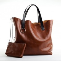 MANOCO-14. HANDMADE LARGE LEATHER TOTE BAG IN WHISKEY BROWN WITH A MATCHING LEATHER DETACHABLE COSMETIC BAG.