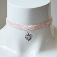 Kitten play day choker - velvet glitter ribbon - with heart charm - kittenplay ddlg cute necklace for everyday wearing
