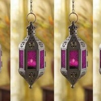 4 PURPLE Hanging Morrocan Outdoor Garden Votive Candle Holder Lot Lantern Set