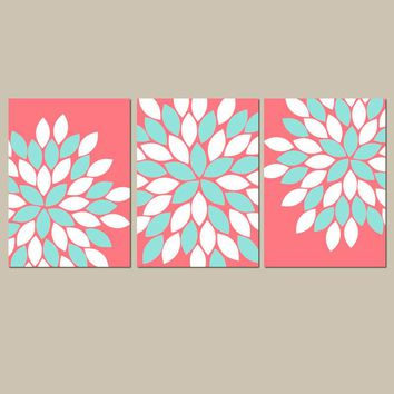 CORAL AQUA Wall Art, Floral Canvas or Print, Floral Bathroom Decor, Baby Girl Nursery Decor, Flower Wall Art, Set of 3 Above Crib Decor