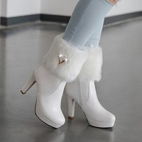 thick high-heeled side zipper with fur