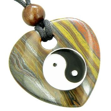 Heart Protection Talisman Lucky Ying Yang Tiger Eye Iron Necklace