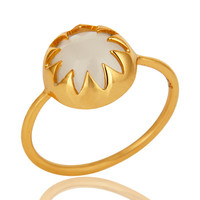14K Yellow Gold Plated Sterling Silver White Moonstone Stacking Ring