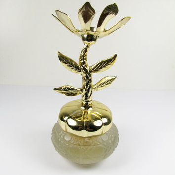 Vintage Perfume Bottle Jar, Frosted with Gold Flower Topper, Bird of Paradise Cream Sachet.
