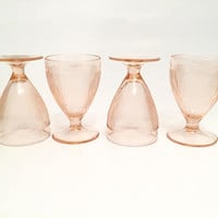 Pink Depression Glass Footed Cups, Jeannette Homespun Pink Juice Glasses, Fine Rib
