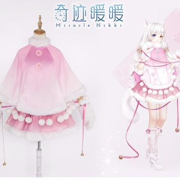 Nikki Costume Game Miracle Nikki Cosplay Pink Cat Neko Women Red Skirt Kawaii Costume