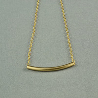 Smooth Curved Tube Necklace, 14K Gold Filled, Curvaceous, Simple, Delicate, Everyday Wear Necklace