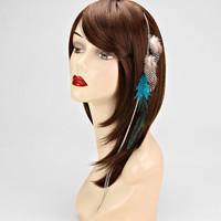Teal Feather Hair Accessory