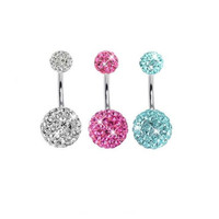 Lot of 3 Pieces Belly Ring Crystal Belly Button Rings 14G (1.6~mm)
