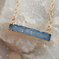 Light Blue Druzy Bar 24K Gold Necklace Rectangle Quartz Drusy - Free Shipping Jewelry