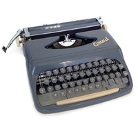 Vintage Consul Typewriter-Portable-Czechoslovakia-With Case-Manual-Grey-Steel Body-Retro Office-Collectible-1960's-Dark Gray