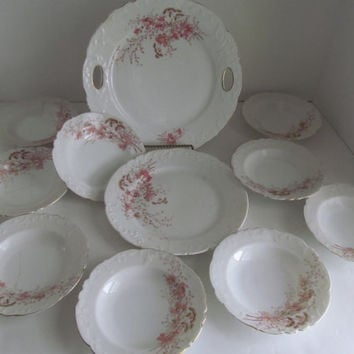 10 pc Haviland Limoges Cake Plate Set Cut Out Handles Cake Serving Set Desert Set Desert Plates Fine Chine Berry Bowl set