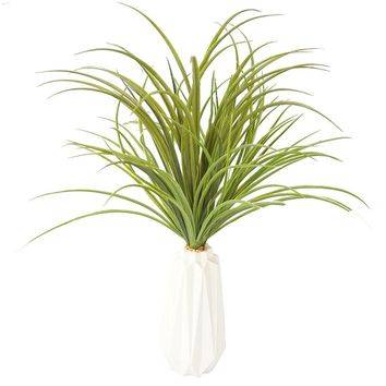 "Plastic grass in ceramic vase (white) 16x16x26""H"