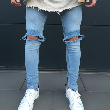 Men Blue Slim Ripped Holes Jeans [10869557635]