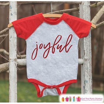 Kids Christmas Shirts - Joyful Christmas Outfit - Religious Sibling Christmas Shirt or Onepiece - Boy or Girl - Kids, Baby, Toddler, Youth