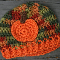 Pumpkin baby hat 0-3 months Fall newborn autumn crochet pumpkin orange Multi color. Ready to ship