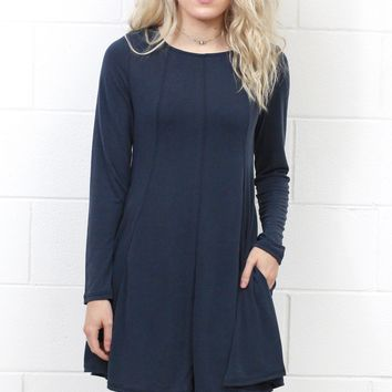 Cupro Modal A-Line L/S Swing Dress {Navy}