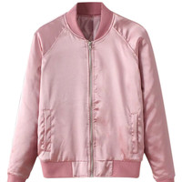 Pink Zip Up Stain Bomber Jacket
