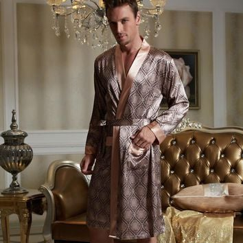 Xifenni Robes Men Softness Satin Silk Sleepwear Male Geomtric Pattern Bathrobes Long-Sleeve Pijama Sleeping Robe 20505