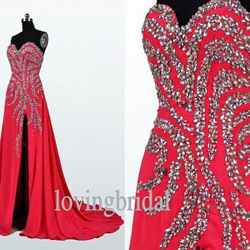 2014 Red Chiffon Beaded Prom Dress Bridesmaid Dress Party Dress Simple Homecoming Dress Formal Prom Dress Custom wedding dress