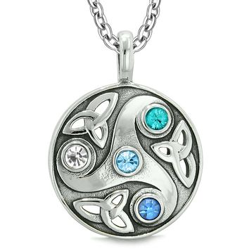 Goddess Celtic Triquetra Knot Protect Amulet Circle White Royal Sky Blue Crystal Pendant Necklace