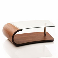 Modern Walnut and Glass Coffee Table