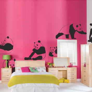 Interior nursery Wall Decal Vinyl Sticker Art Decor Panda animal series zoo bear children's room set of 8 pieces Bedroom Modern Gift (i106)
