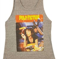 Pulp Fiction Cover Art Uma Thurman Tank Shirt by Junk Food from OldSchoolTees.com