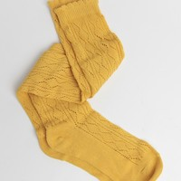 Keswick Ruffled Knee High Socks In Mustard