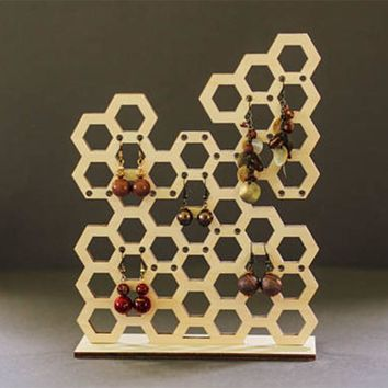 Laser Cut Wooden Honeycomb Shape Jewelry Organizer Holder Bee Jewelry Stand Stud Earring Holders Necklace Storage Display