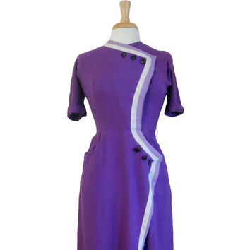 Vintage 1960s Dress Purple Wrap Design With Six Buttons and Striped Trim in Ombre Fashion White and Lavendar - Short Sleeve Midi Dress XS/S