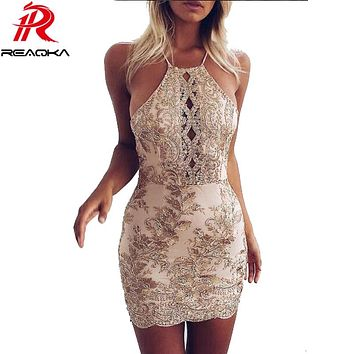 Reaqka New Arrival Chic Embroidery Celebrity Bodycon Strap Sundress Sexy Sleeveless Halter Hollow Lace Club HL Dress Party
