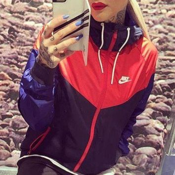 Nike Trending Unisex Casual Print Long Sleeve Hooded Zipper Cardigan Sweatshirt Jacket Coat Windbreaker Sportswear I-2