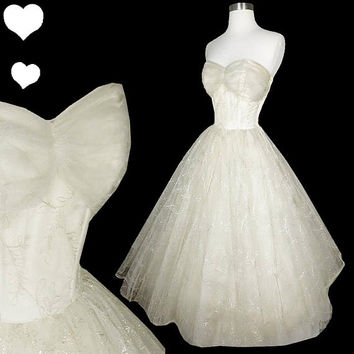 Vintage 50s Dress // White Tulle Full Skirt Prom Party Wedding Dress XXS Rockabilly Pinup Bridal Gown Princess Strapless Silver
