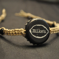 Black and Silver Mike's Hard Lemonade Recycled Bottle Cap Hemp Anklet Unique jewelry