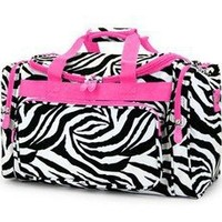 Hot Pink Trim Zebra Print Duffle Gym Dance Cheer Pageant Travel Carry On Bag