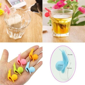 5pcs Cute Snail Shape Silicone Tea Bag Holder Cup Mug Candy Colors Gift Set New = 1958398724