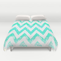mint chevron Duvet Cover by Marianna Tankelevich