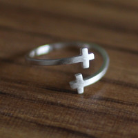 925 sterling silver Double cross opening ring , a perfect gift !