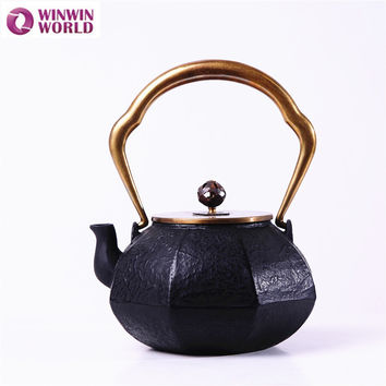 1.2L Cast Iron Teapot Cookware With Infuser 42oz Japanese Black Old Metal Tea Pot Kettle With Stainless Steel Mesh WW-MT016