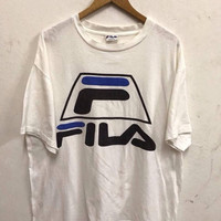 20% OFF Fila t shirt Vintage Fila Big Logo Shirt Casual Fasion Hip Hop Streetwear shirt Made in Usa sz L